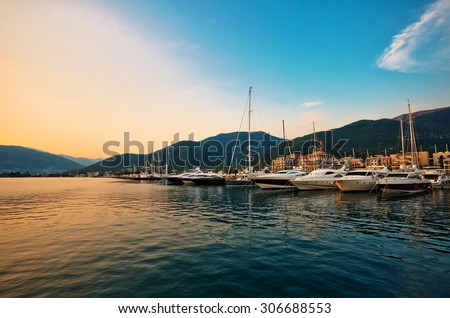 Sailing boats and yachts in marina at sunset. Tivat. Montenegro - stock photo