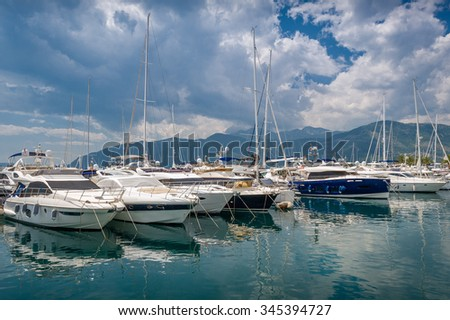 Sailing boats at Tivat old town main yacht marina. Tivat, Montenegro - stock photo