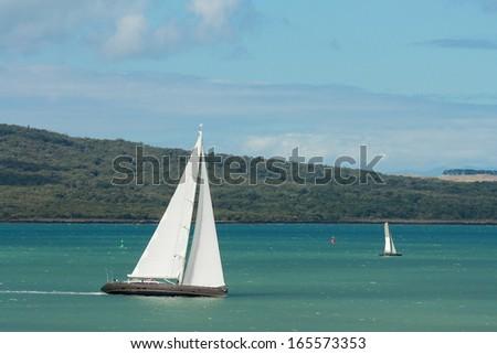 sailing boats in Hauraki Gulf - stock photo