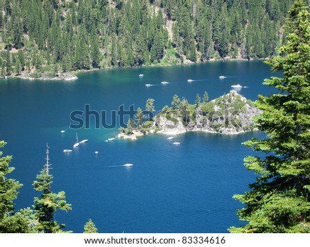 Sailing boats in Lake Tahoe, Nevada - stock photo