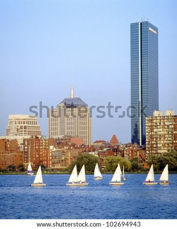 Sailing, Charles River, Boston, Massachusetts - stock photo