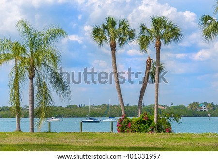Sailing in Southwest Florida on tranquil waters surrounded by tropical palms and flowering bushes. - stock photo