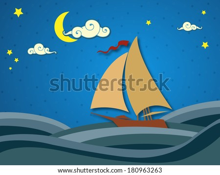Sailing in the night - stock photo