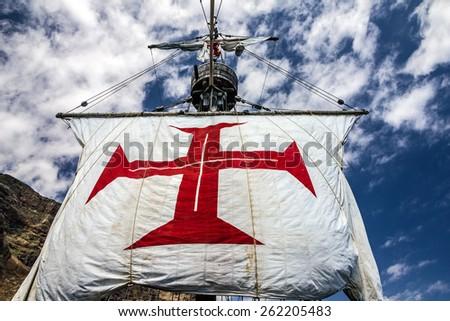 Sailing of vintage vessel Santa Maria da Colombo, Funchal, Madeira, Portugal. - stock photo