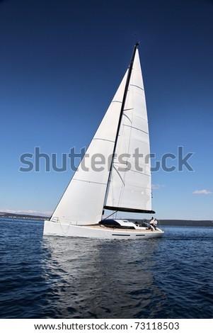 Sailing on the Adriatic Sea - stock photo