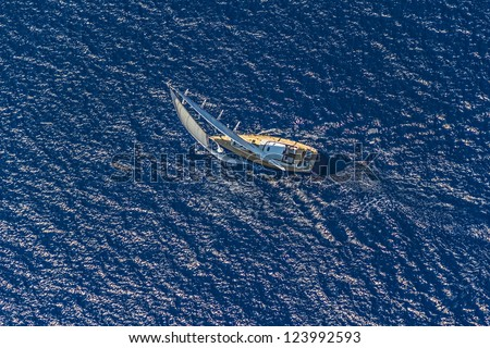 Sailing on the Adriatic sea - aerial shot - stock photo