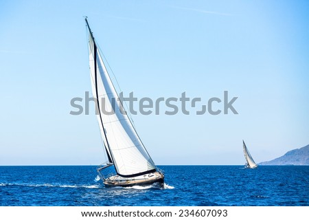 Sailing, racing yachts on the Sea. Luxury yachts. - stock photo