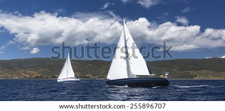Sailing regatta. Yachting. Luxury yachts. - stock photo