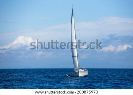 Sailing. Sailboats participate in sailing regatta. Luxury Yachts. - stock photo