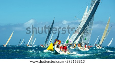 Sailing.Sailing yachts competing in the regatta. Luxury boats. Yachting - stock photo
