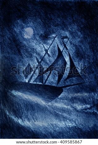 sailing ship and a violent storm - stock photo