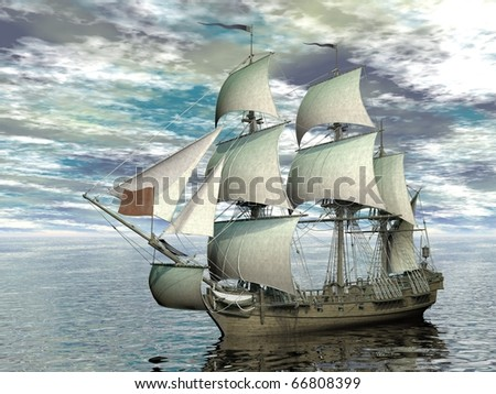 sailing ship in vast sea - stock photo