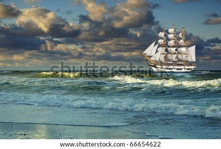 sailing-ship on background of clouds - stock photo