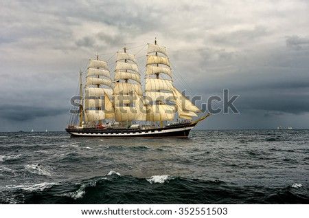 Sailing ship race. Yachting. Sailing - stock photo