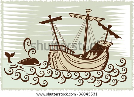 Sailing ship with whale along the side - stock photo