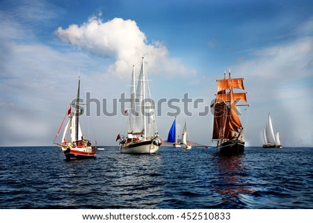Sailing. Ship yachts with white sails in the open Sea. Luxury boats.Bodrum cup - stock photo