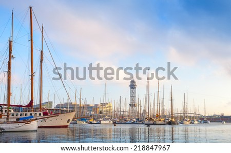 Sailing ships and yachts moored in Port of Barcelona, Spain - stock photo
