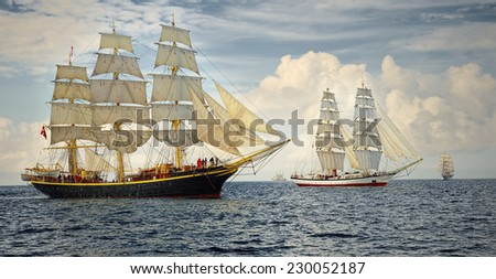 Sailing ships regatta. Seascape. Series of ships and yachts - stock photo