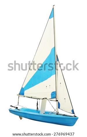 Sailing ships under the white background - stock photo