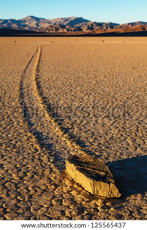 Sailing Stones Of Death Valley National Park - stock photo