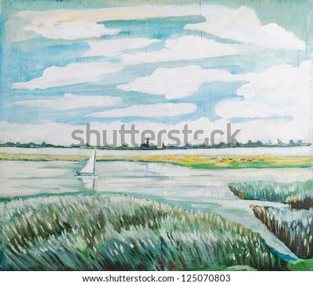 sailing the coast waters - original painting oil on wood - stock photo