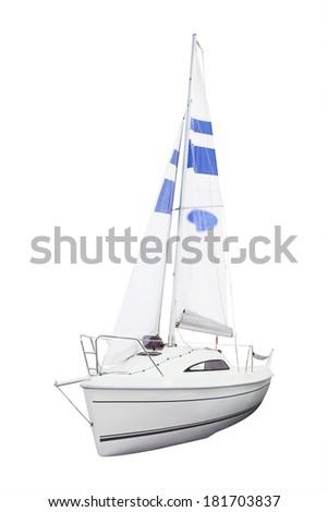 sailing under the white background - stock photo