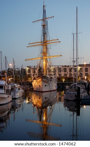 Sailing vessel in the evening - stock photo