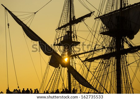 Sailing vessel silhouette - stock photo