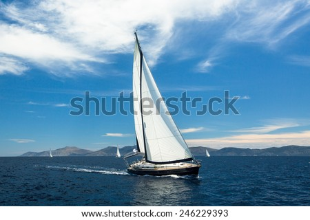 Sailing yacht boat on ocean water, outdoor lifestyle. Luxury. - stock photo