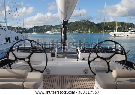 Sailing Yacht Bow and Gear Docked in Antigua, Caribbean, West Indies - stock photo