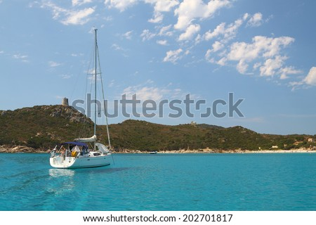 Sailing yacht in mediterranean sea - stock photo
