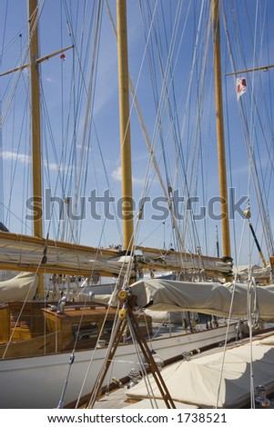 sailing yacht, launched 1937 - saint-tropez, mediterranean sea - stock photo