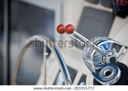 Sailing yacht navigation implement. Horizontal close up shot with small GRIP - stock photo