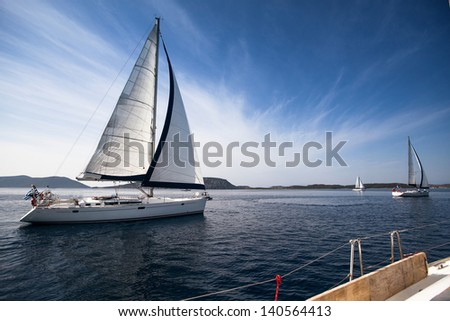 Sailing yacht race, picture with space for text or logos - stock photo