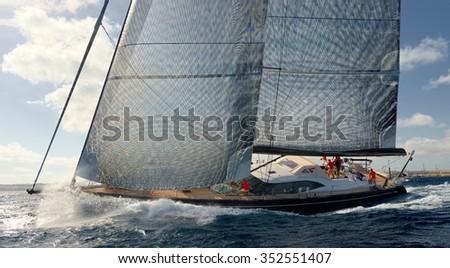 Sailing yacht race. Yachting. Sailing - stock photo