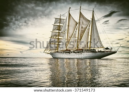 Sailing.  Yachting.  Sailing ship. Toned image and blur. Retro style postcard - stock photo