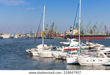 Sailing yachts and pleasure boats are moored in port of Varna, Bulgaria - stock photo