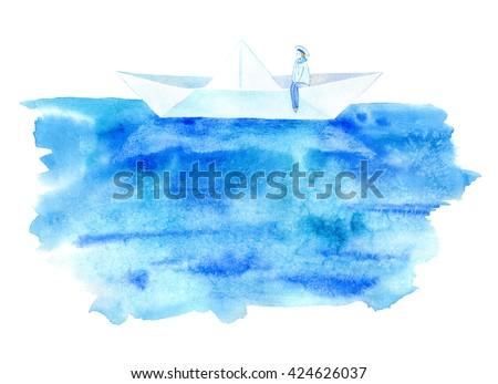 Sailor and boat postcard.Sea greeting card.Watercolor hand drawn illustration. - stock photo