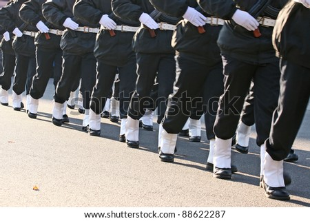 sailor march in formation - stock photo