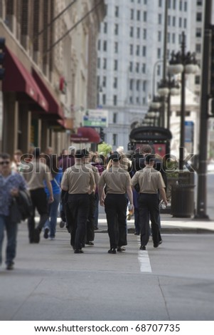 Sailors going Michigan Avenue in downtown Chicago - stock photo