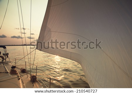 Sails full of wind over sunset ocean - stock photo