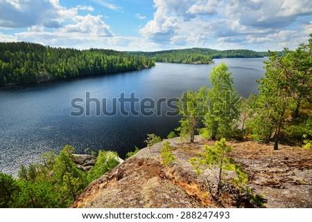 Saimaa lake in Finland - stock photo