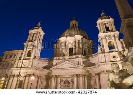 Saint Agnese in Agone basilica in piazza Navona Rome - stock photo