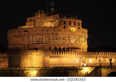 Saint Angel Castle by night in Rome, Italy - stock photo
