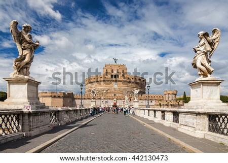 Saint Angel Castle (Castel Sant'Angelo) and bridge over the Tiber river in Rome, Lazio region, Italy. - stock photo