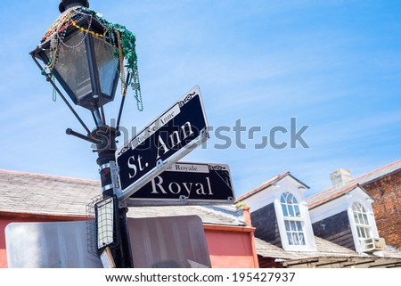 Saint Ann street sign in the French Quarter in New Orleans, Louisiana. - stock photo