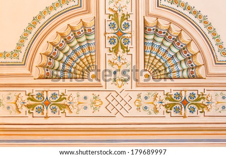 SAINT ANTON, SLOVAKIA - FEBRUARY 26, 2014: Detail of ceiling fresco from library in palace Saint Anton from 19. cent. - stock photo