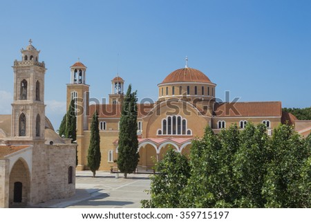 Saint George Cathedral, Paralimni, Cyprus. The traditional town of Paralimni is the largest town in the free Famagusta district, located approximately 40 minutes drive from Larnaca airport - stock photo