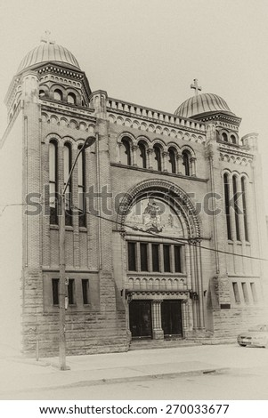 Saint George's Greek Orthodox Church (formerly Holy Blossom Temple, designed by Canadian architect John Siddal) in Toronto, Ontario, Canada. Antique vintage. - stock photo