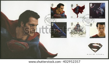 SAINT HELIER, JERSEY - JUNE 07, 2013: A stamp printed in Jersey shows Man Of Steel - stock photo